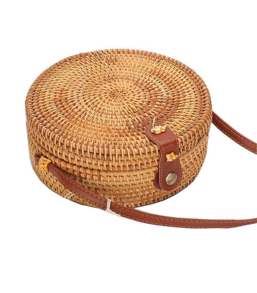Round Rattan Boho Purse Handwoven Straw Bag Bamboo Handbag Wicker Beach Bag(floral lining snap clasp)