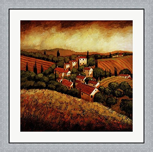 Tuscan Hillside Village by Santo Devita Framed Art Print Wall Picture, Flat Silver Frame, 32 x 32 inches (Tuscan Hillside Village)