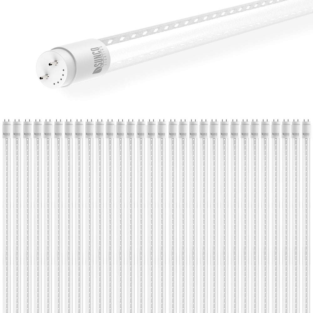 Sunco Lighting 30 Pack 4FT T8 LED Tube, 18W=40W Fluorescent, Clear Cover, 5000K Daylight, Single Ended Power (SEP), Ballast Bypass, Commercial Grade - UL & DLC Listed by Sunco Lighting (Image #1)