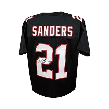 sports shoes 24821 c423b Deion Sanders Autographed Atlanta Falcons Custom Black ...