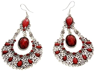 1b7cb023a11f Amazon.com  Earrings - Silver Tone and Red Large Acrylic Chandelier ...