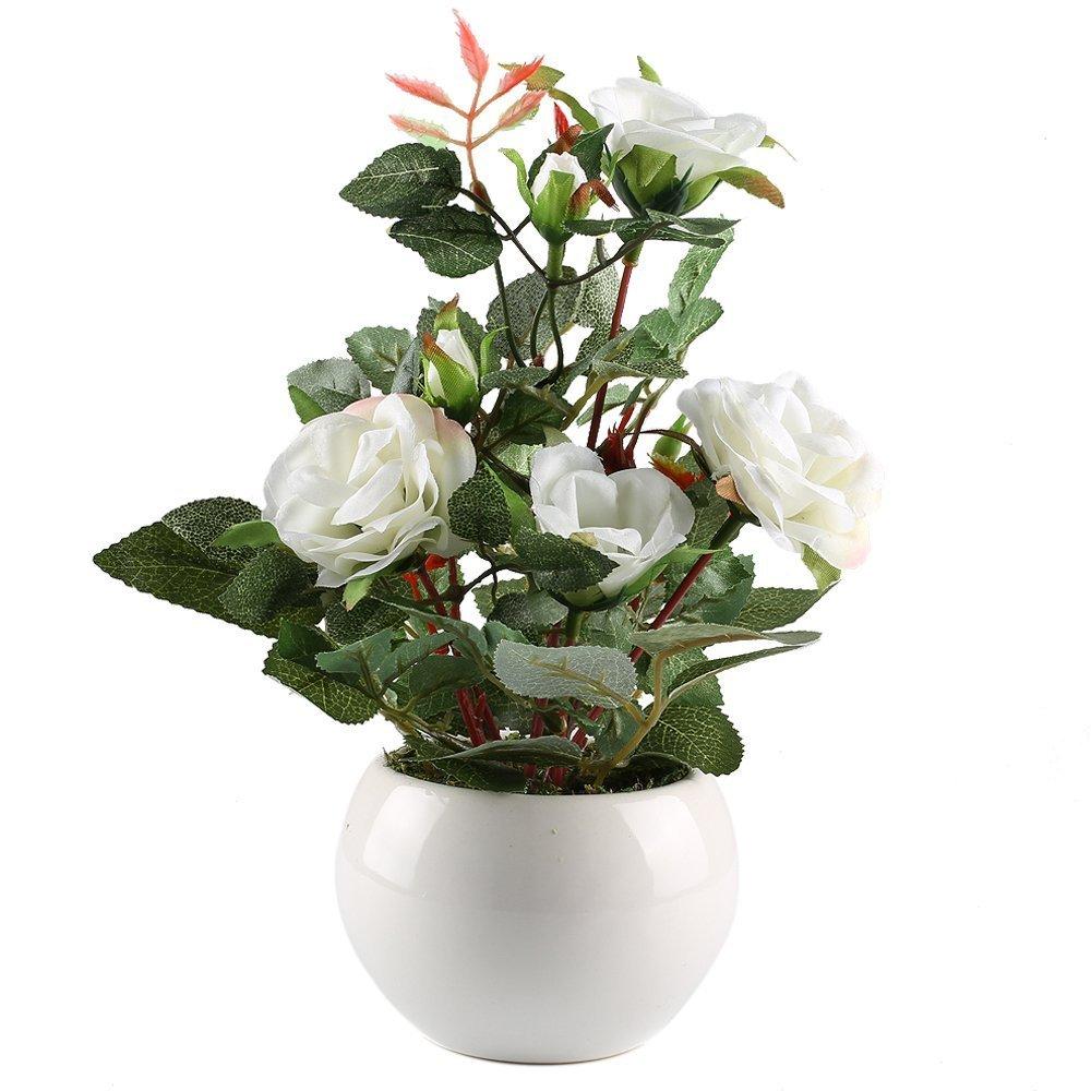 Gtidea Fake Potted Flower Plants Silk Rose Artificial Bonsai Home