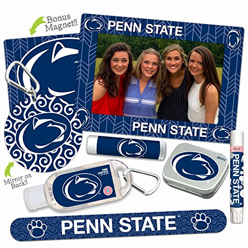 Penn State Nittany Lions Deluxe Variety Set with Nail File, Mint Tin, Mini Mirror, Magnet Frame, Lip Shimmer, Lip Balm, Sanitizer. NCAA Gifts and Gear for Women, Mother's -