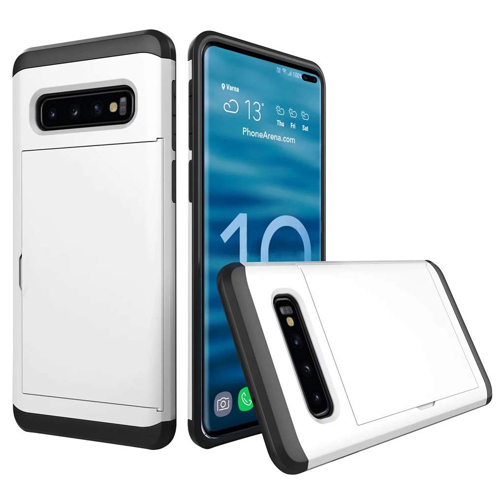 Cyhulu Samsung Galaxy Phone S10 Plus Case, Hot New Brushed Hard PC+Silicone Case Cover Card Holder for Samsung Galaxy S10 Plus 6.4 inch, 11 Color Available (White, One size)