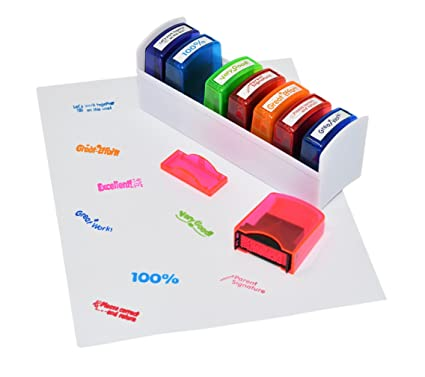 Amazon Colorful Self Inking Motivation School Grading Teacher Stamp Set And Tray