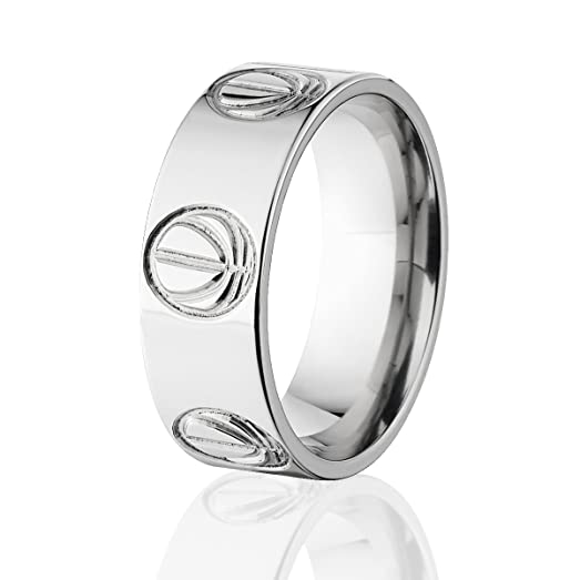 Basketball Ring Wedding Ring Basketball Wedding Band Titanium