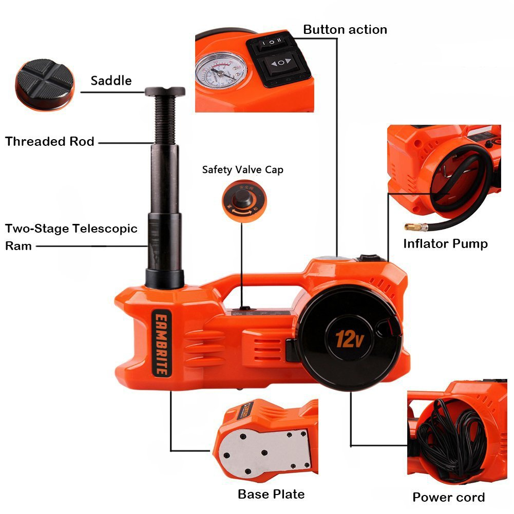 12V DC 1 Ton Electric Hydraulic Floor Jack Set with Impact Wrench For Car Use (6.1-17.1 inch, Orange) by EAMBRTE (Image #5)