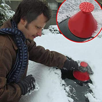 MX Windshield 2 in 1 Scrape a Round Scraper Magic Brush to Clean The Ice and Snow on The Car Blue, L
