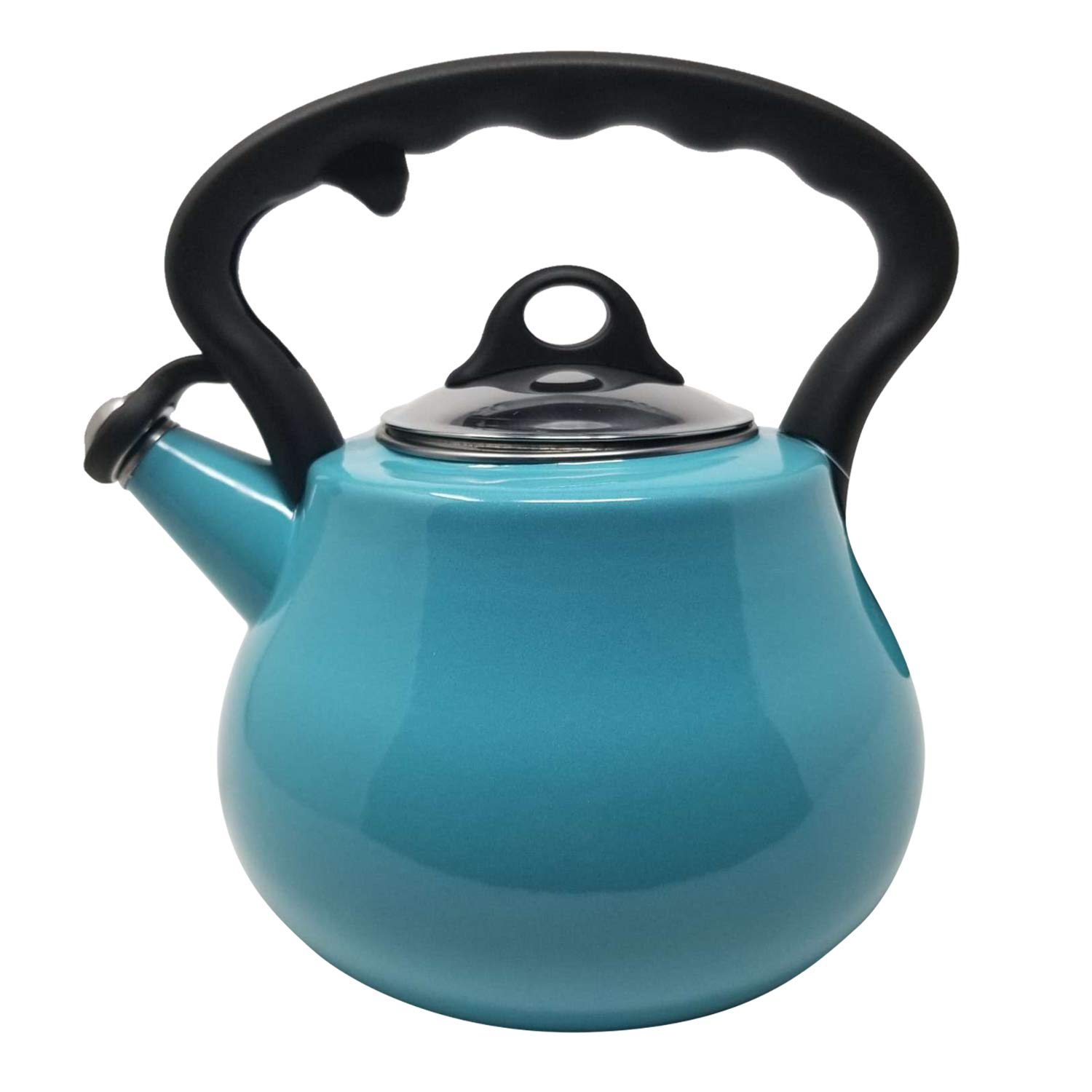 Premium Quality Food Grade Porcelain Enamel on Steel Loud Whistle Anti- Hot and Anti-Rust TEA KETTLE with Ergonomic Soft Grip Handle by REMEDY LOVELY - Heavy Gauge STOVETOP POT 2 QT. (Teal)