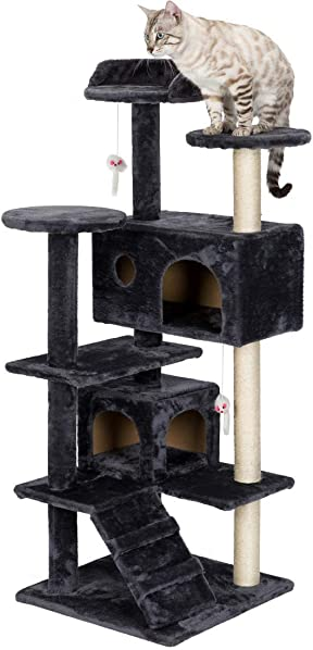 ALI VIRGO 51 Cat Tree Tower Condo Furniture Scratch Post for Kittens Pet House Play, Plush Perches, Activity Centre,Black