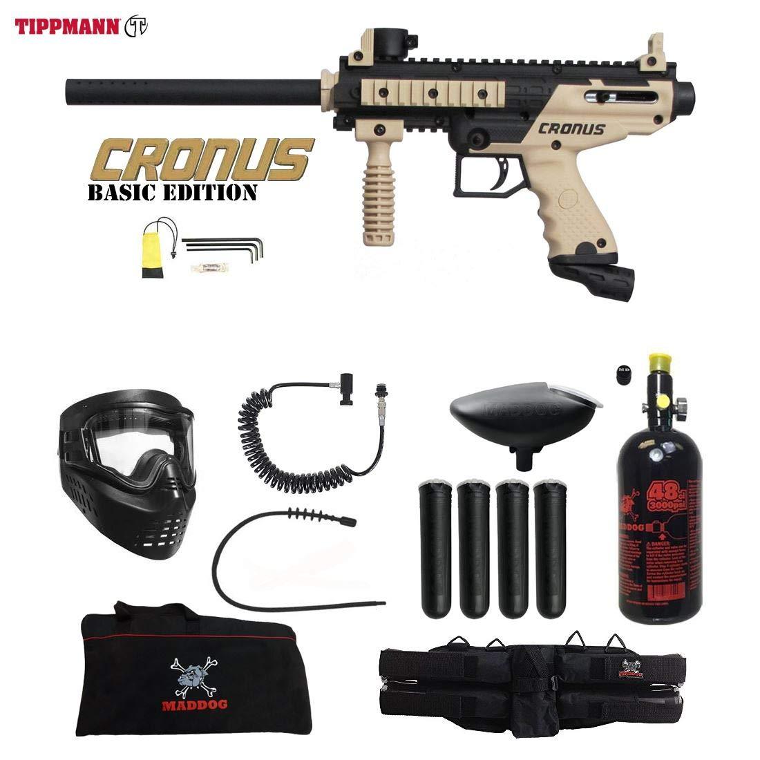 Maddog Tippmann Cronus Basic Tactical Specialist HPA Paintball Gun Package - Black/Tan by Maddog