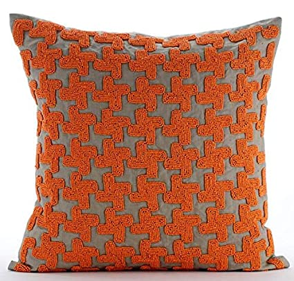 Amazon The HomeCentric Luxury Orange Throw Pillow Covers Enchanting Orange Decorative Pillows For Couch