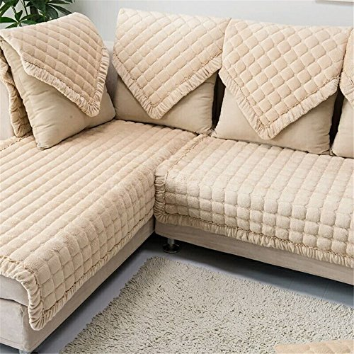 OstepDecor Multi-size Pet Dog Couch Rectangular Winter Quilted Furniture Protectors Covers for Sofa, Loveseat | ONE PIECE | Backing and Armrest Sold Separately | Beige 36
