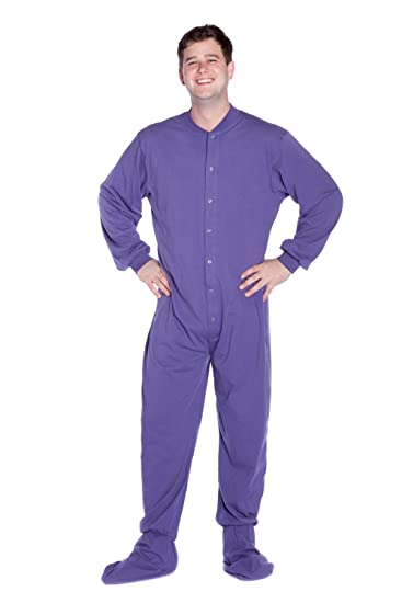35b4bf945790 Big Feet Pjs Purple Cotton Adult Footed Footie Onesie Pyjamas w Butt ...