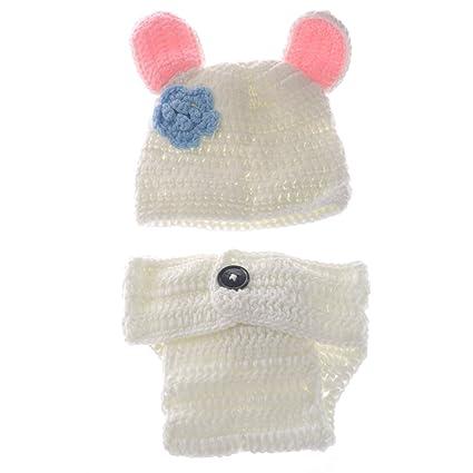 BESTOYARD Cute White Rabbit Style Neonato Neonato Lavorato a Mano Uncinetto  Cappello Costume Bambino Fotografia Puntelli 4b1b657382ec