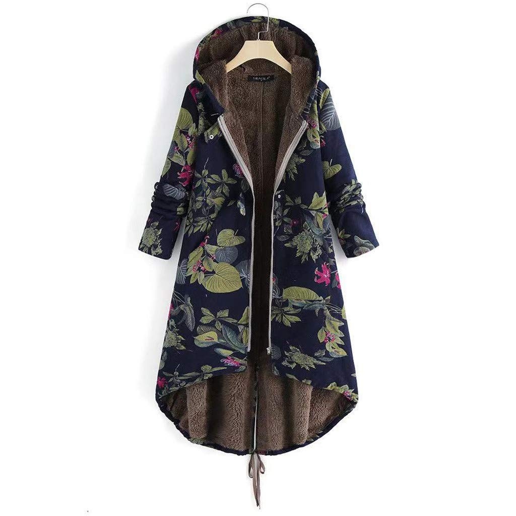Kenvina Womens Winter Warm Outwear Retro Floral Print Hooded Jackets Pockets Inner Velvet Vintage Oversize Coats Navy by Kenvina