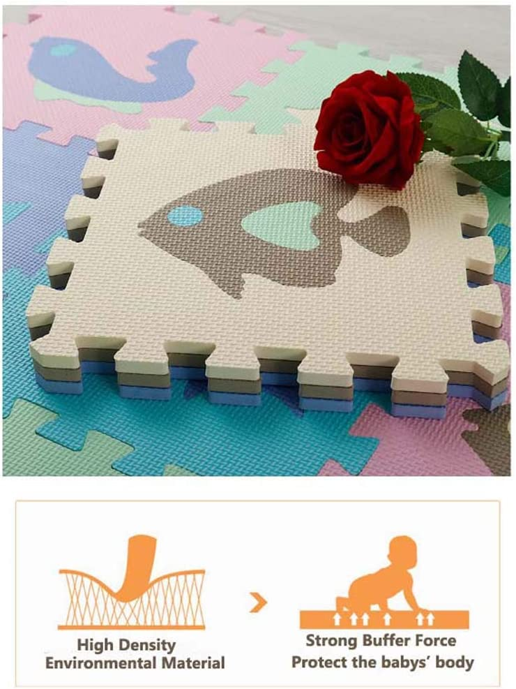 Amusement HOUTBY Foam Tiled Puzzle Play Mat with Fence Edging Non-Toxic Foam Baby Crawling Mat for Toddler Kids Babies Playrooms//Nursery Tummy Time and Crawling