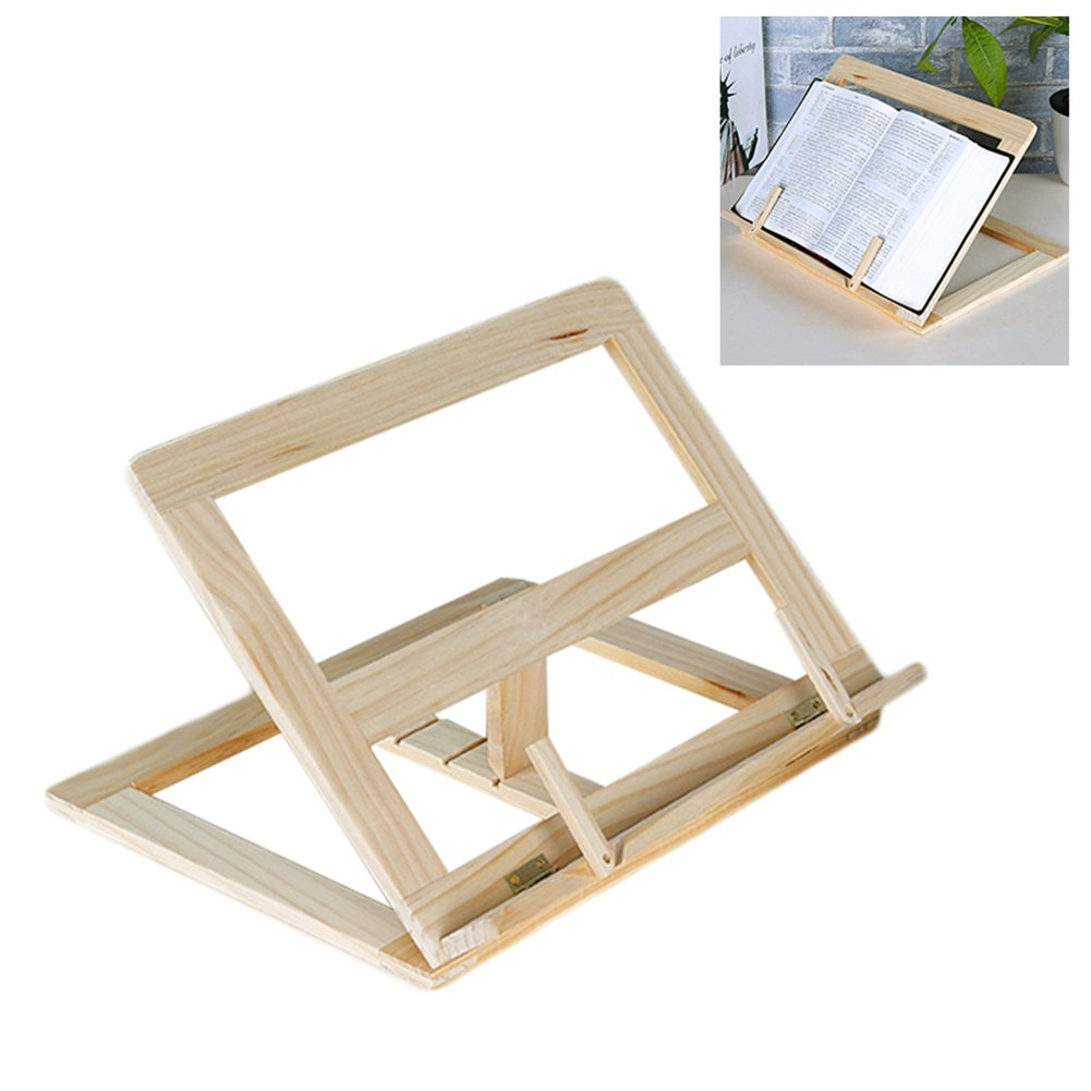 Wooden Adjustable Book Stand Recipe Cookbook Holder Reading Desk Tablet Holders Stand by cheerfullus