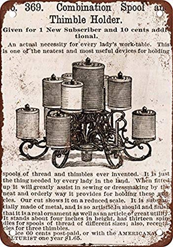 Spool and Thimble Holder Vintage Custom Metal Tin Sign