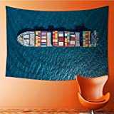 SOCOMIMI Tapestry Mystic House Decor,container container ship in import export and business logistic by crane Bedroom Living Room Dorm Wall Hanging Tapestry(59W x 51.1L INCH)