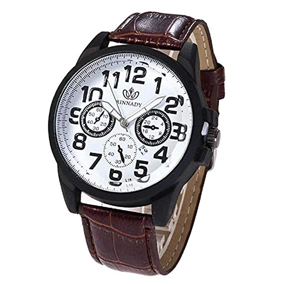 Relojes para Hombre Vestido de Moda Reloj de Pulsera con Banda de Cuero Relojes de Cuarzo analógicos Casuales únicos Reloj de Negocios clásico Calendario ...