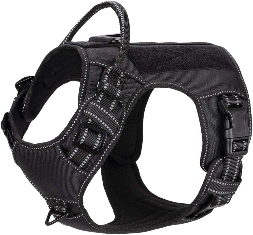 Image of the 4XPAW Reflective Tactical Dog Harness, with Hook and Loop Panel for ID Badge, no pulling Front D Ring, and quick Release Buckle.