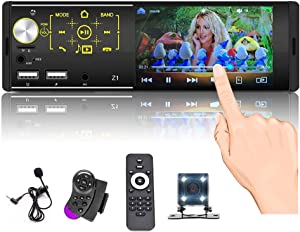 Single Din Touchscreen Radio Bluetooth Car Stereo 4 Inch FM AM Tuner with Rear Microphone Input USB SD AUX Input + Rear View Camera & Steering Wheel Control