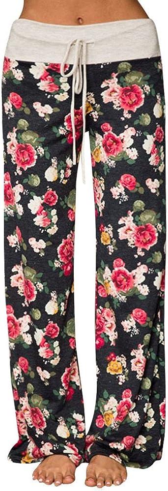 Pajama Pants for Women Stretch Floral Print Drawstring High Waist Wide Leg Lounge Pant xatos Womens Comfy Casual Yoga Pants