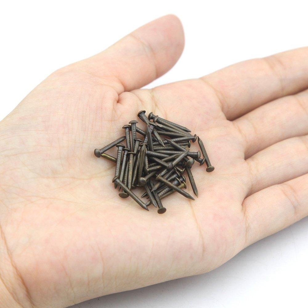 OMYZON 200pcs OMYZON reine kupferne runde Kopf-Bronzen-h/ölzerne N/ägel DIY dekorative Kasten-Zus/ätze 1.5 15mm