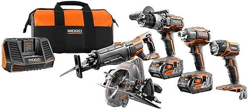 RIDGID TOOL COMPANY R9652 18V Tool Combo Kit 5 Piece