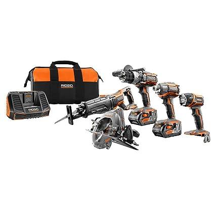 .com: ridgid tool company r9652 18v tool combo kit (5 piece ...
