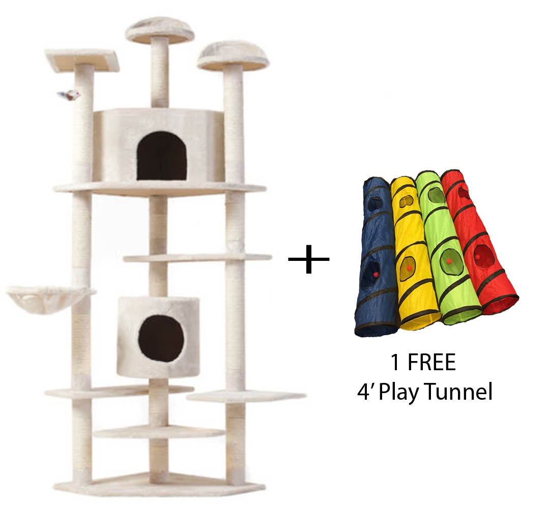 OMNI 7' Cat Tree Multi-Level Pet House Kitty Condo Scratching Post + FREE Play Tunnel