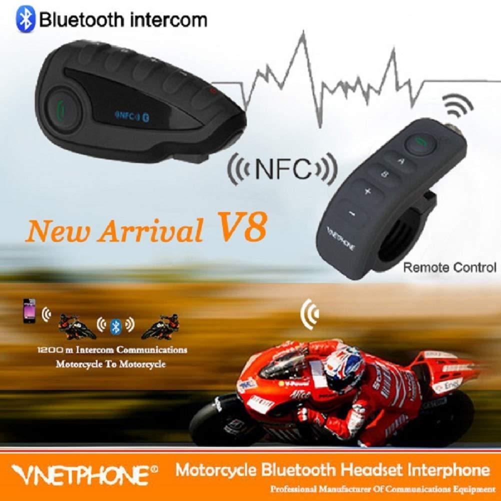 V8 Sistema de Comunicaci/ón de Motocicleta con Intercomunicador Bluetooth 3.0 con Handlebar Remote Controller FM NFC 5 Pasajeros Full Duplex Rango 1200m,Modo De Espera 240H