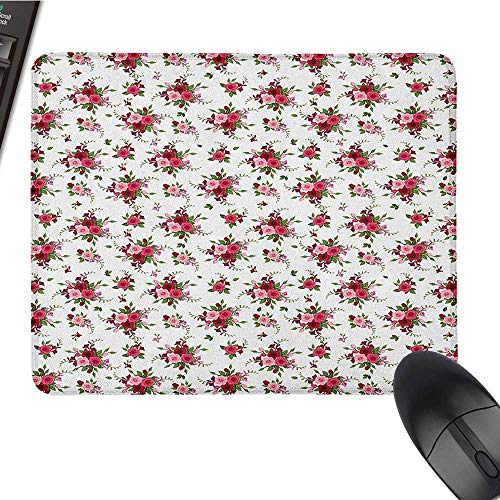 (E-Sports Gaming Mouse Pad Flowers,Bridal Bouquets Pattern with Roses and Freesia Romantic Victorian Composition, Pink Ruby Green E-Sports Gaming Mouse Pad 9.8 x11.8 INCH)