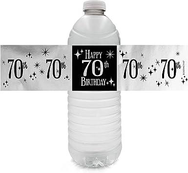Etiquetas para botella de agua de 70 cumpleaños, color negro y ...
