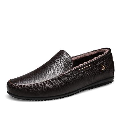 Hongjun-shoes, Hombre Casual Cuero Conducción Holgazán Suela Blanda Algodón Transpirable Tipo Pedal de