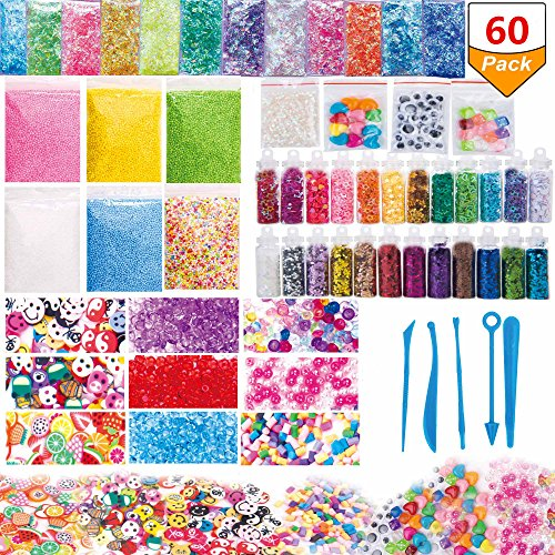 60 Pack Slime Supplies Kit Slime Beads Charms Include Colorful Foam Beads Fishbowl Beads Glitter Jars Fruit Flower Animal Slices Sugar Paper Rainbow Pearls Slime Tools for Slime Making Art DIY Craft by Yoker