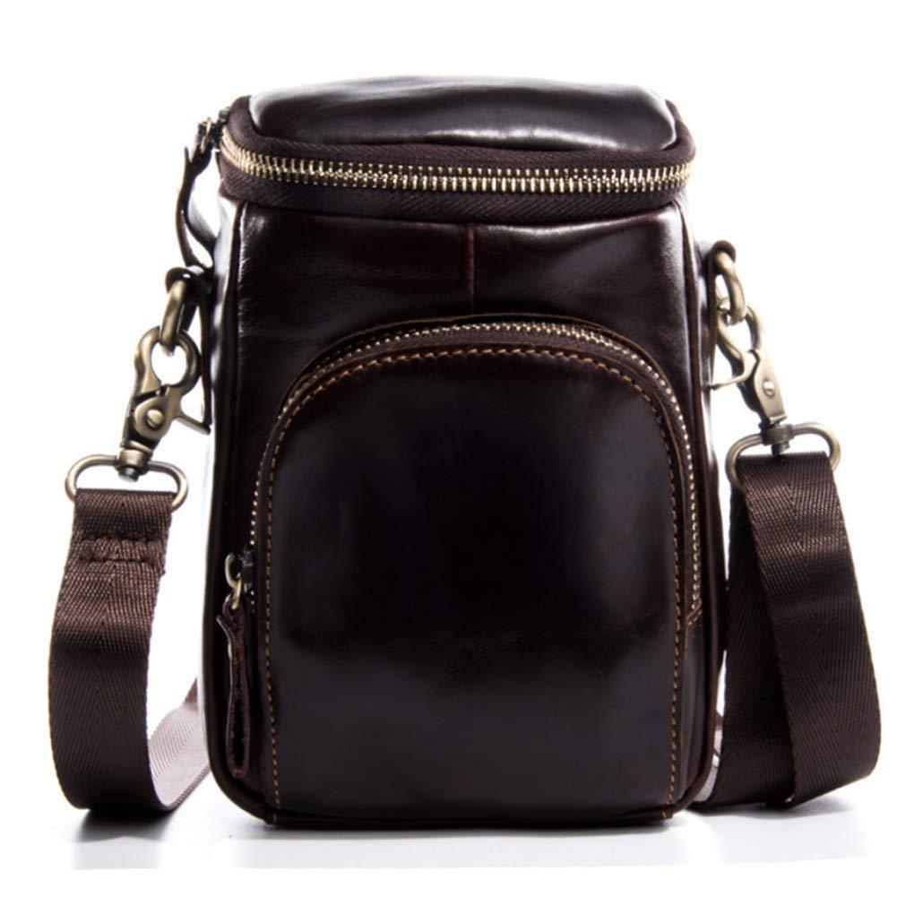 LQUIDE Herrentaschen Leder Lässige Multi-Funktion Schulter Diagonal Tasche Outdoor-Trage-Gürtel Telefon-Tasche Kann 6-Zoll-Handy-Gurt Verstellbar Installiert Werden