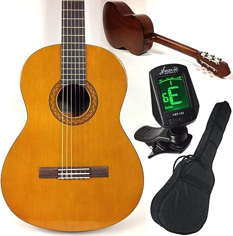 Yamaha C40 - Juego de guitarra clásica y kit para principiantes (incluye afinador LED sfq24, funda, correa y 3 púas) Guitarra y juego de accesorios ideales para principiantes.: Amazon.es: Instrumentos musicales
