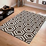 Superior Geometric Wool Rug, 100% Wool Pile with Cotton Backing, Hand Tufted Luxury Rug, Modern Geometric Pattern – Brown & Ivory, 5′ x 8′ Review
