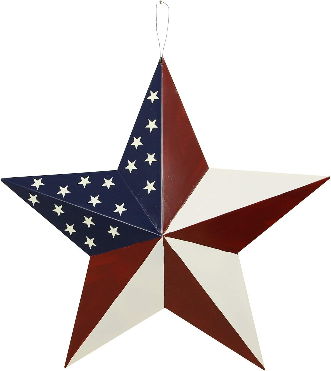 E-view Metal American Flag Barn Star Decor Patriotic Mounted 3D Wall Art July of 4th Decoration 21