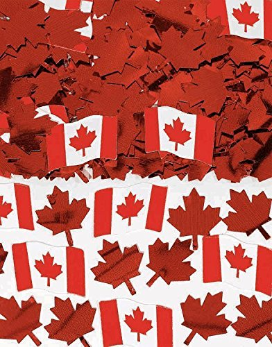 Amscan Canadian Flag Printed Party Confetti Pack Mix, 1.5 oz, Red/White (Confetti Party Printed)