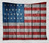 American Flag Tapestry USA Decor by Ambesonne, Independence Day of National Celebration and Retro Worn Wooden Looking Pattern, Bedroom Living Kids Room Dorm Accessories Wall Hanging Tapestry, Blue Red