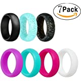 Silicone Wedding Ring, Ubearkk Silicone Wedding Band 7 Pack for Men and Women Esigned for Comfort, Fitness, Exercise, Weight Lifting/Training, Running, Rubber Rings Band