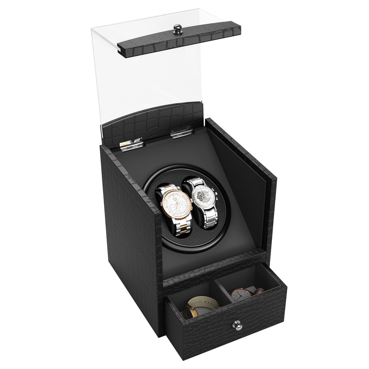 Double Automatic Watch Winder, CRITIRON Luxury PU Leather Rotating Watches Display Box with Drawer, Black