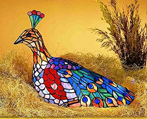 Tiffany Style Stained Glass Light Peacock Accent Lamp - 1032 Red Kitchen
