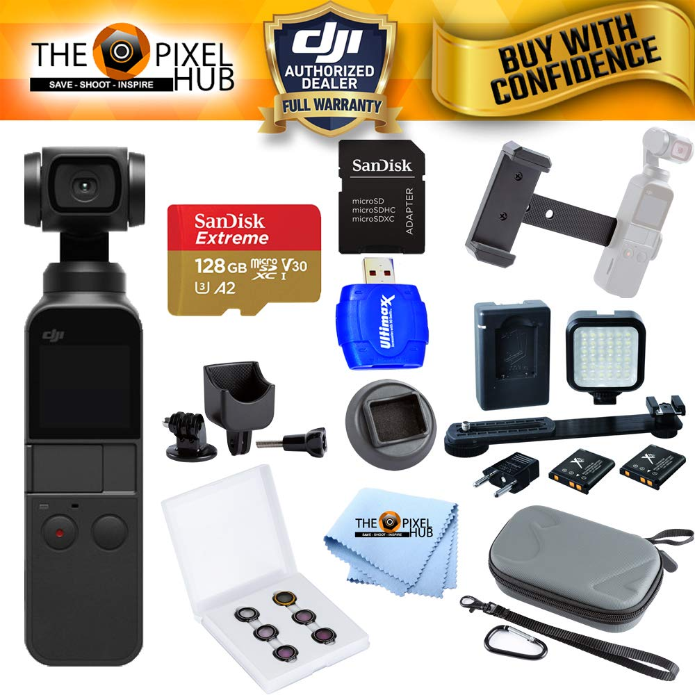DJI Osmo Pocket Gimbal Camera with 4K Video Extreme Bundle with 128GB MicroSD, LED Light Kit, Filter Kit, Case + More