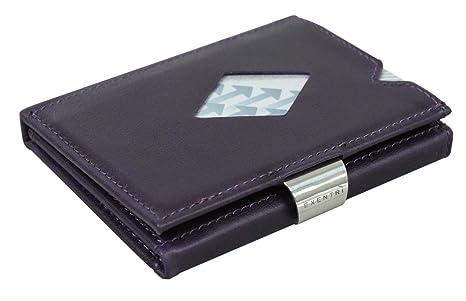 EXENTRI Cartera billetera púrpura para mujer hombre de cuero forrada en nylon. Espacio para 12