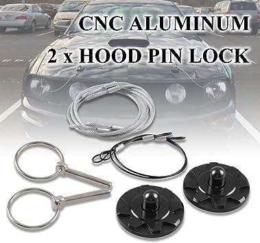 2 Pcs Car VehicleRacing CNC Aluminum Bonnet Hoods Pin Lock Appearance Kit Black