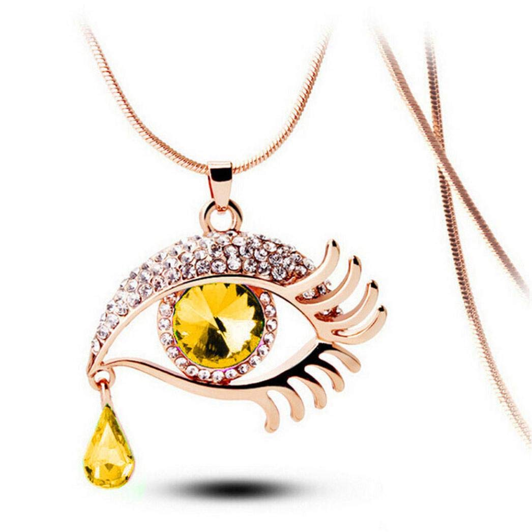 Snowfoller Magic Eye Crystal Sweater Pendant Chain Fashion Tear Drop Eyelashes Charm Long Necklace Jewelry Gift For Women Girls (Yellow)